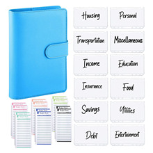 A6 Budget 6 Ring Binder Cover Personal Planner with 12 Zipper Pockets,12 Expense Budget Sheets for Money Saving Envelopes System