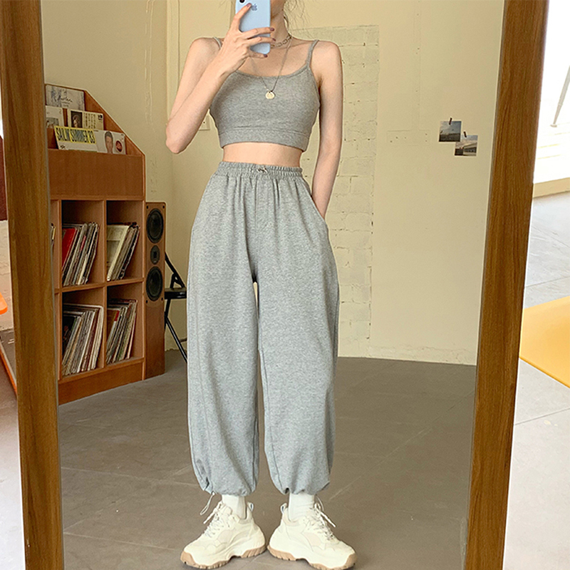 Korean Style Loose Jogging Sweatpants Women's Grey High Waist Pants Sports Bottoms 2020 New Harun Trousers Sport Femme Casual
