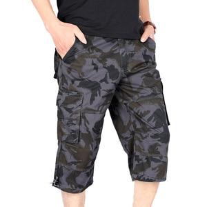 2020 Men Long Cargo Shorts Male Summer Bermuda Elastic Waist Army Camo Baggy Short Plus Size Loose Large Camouflage Free Belt