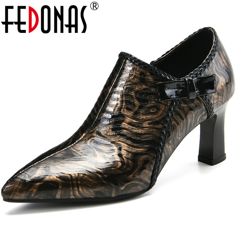 FEDONAS Mixed Colors Side Zipper Sexy Women Shoes Newsest Genuine Leather High Pumps Summer Night Club Pointed Toe Shoes Woman