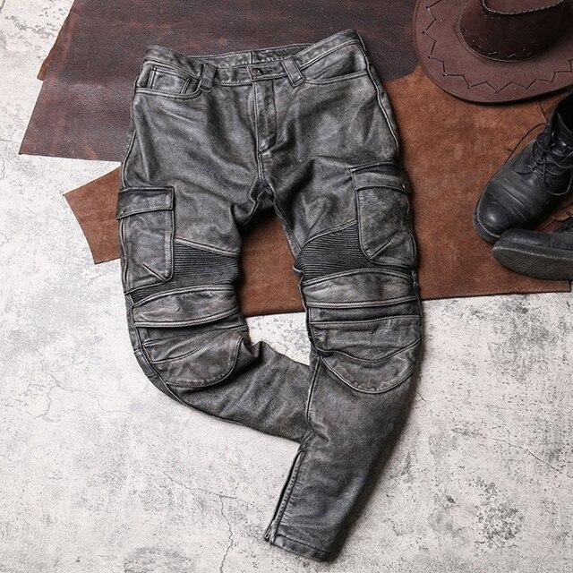 2020 Vintage Grey Men Biker's Leather Trousers Large Size XXXXL Genuine Cowhide Autumn Slim Fit Motorcycle Leather Pants 4
