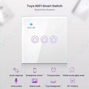Image 2 - חכם WiFi מתג 3 כנופיית זכוכית פנל אור מגע מתג RF433 חכם חיים Tuya APP שלט עובד עם Alexa google בית