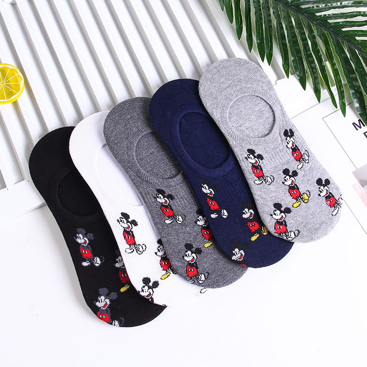 Disney Men's Boat Socks Fashion Cartoon Mickey Simple Shallow Mouth Socks Wild Invisible Socks 2