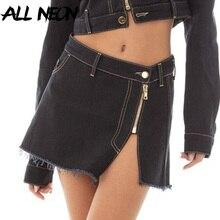 ALLNeon 2000s Streetwear Cute Zip Up Denim Skirts Y2K Aesthetics Low Waist Slit White Jeans Skirt Raw Edge Hem Bottoms A-line