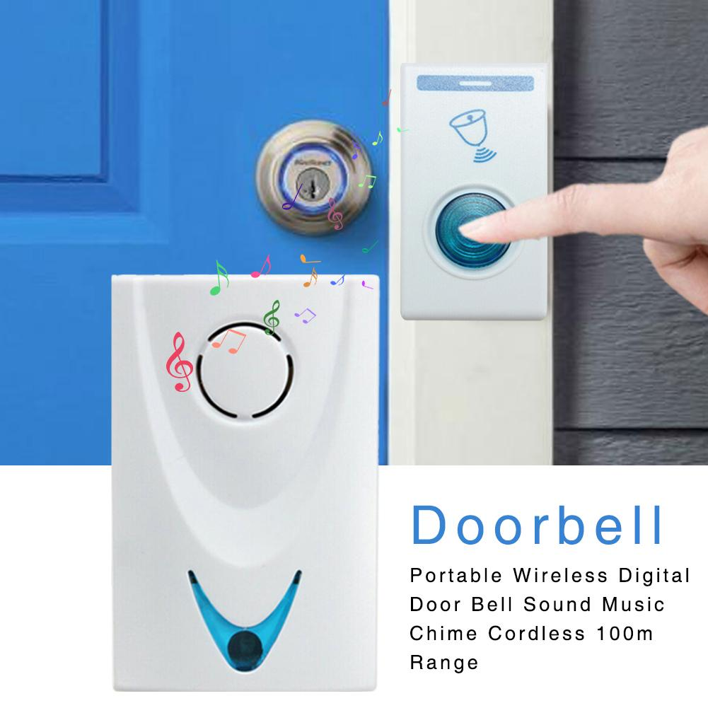 Wireless Doorbell RC Long Distance 32 Ringtones Portable Wireless Digital Door Bell Sound Music Chime Cordless 100M Range Bell