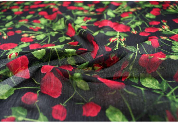 Setengah Meter Musim Semi Musim Panas Desain Kelas Tinggi Mawar Bunga Cetak Sifon Kain untuk Gaun Syal Wanita Pakaian T850