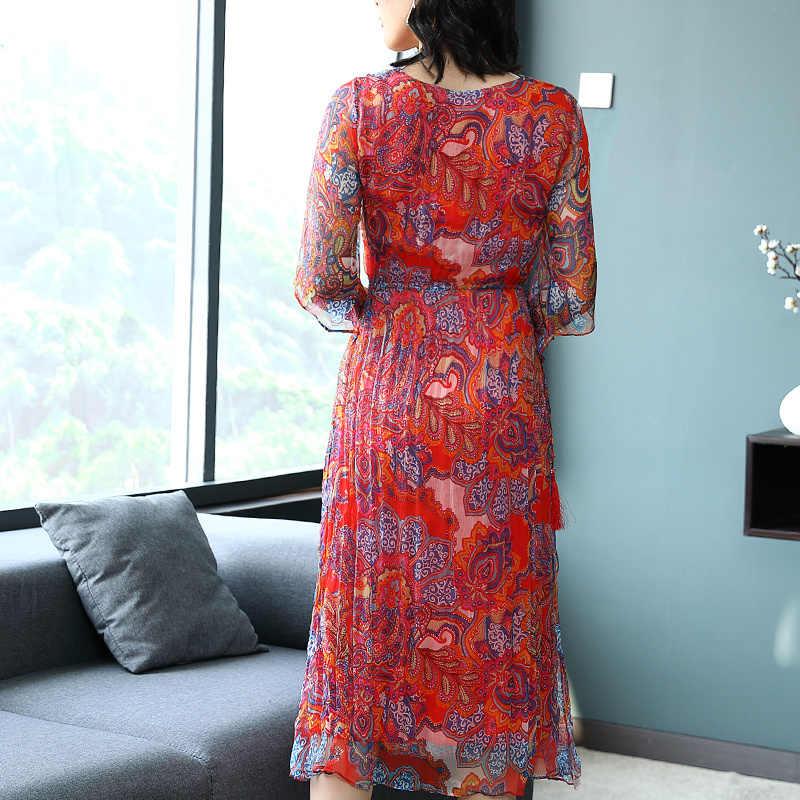 Vestido largo de seda para mujer, Vestido de fiesta de verano, estampado Vintage, vestidos de talla grande Vestido de oficina para damas, ropa LWL1551