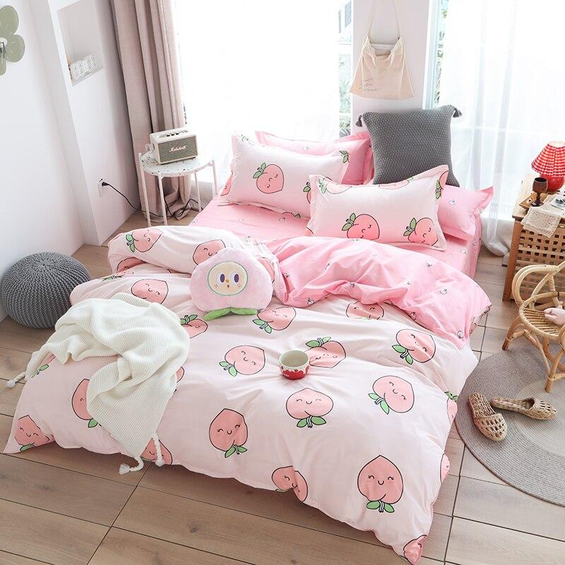 3/4 Pcs Luxury Peach Print Bedding Sets Bed Linen Cotton/Polyester Duvet Cover Bed Sheet Pillowcases Cover Set Bed Linen Set