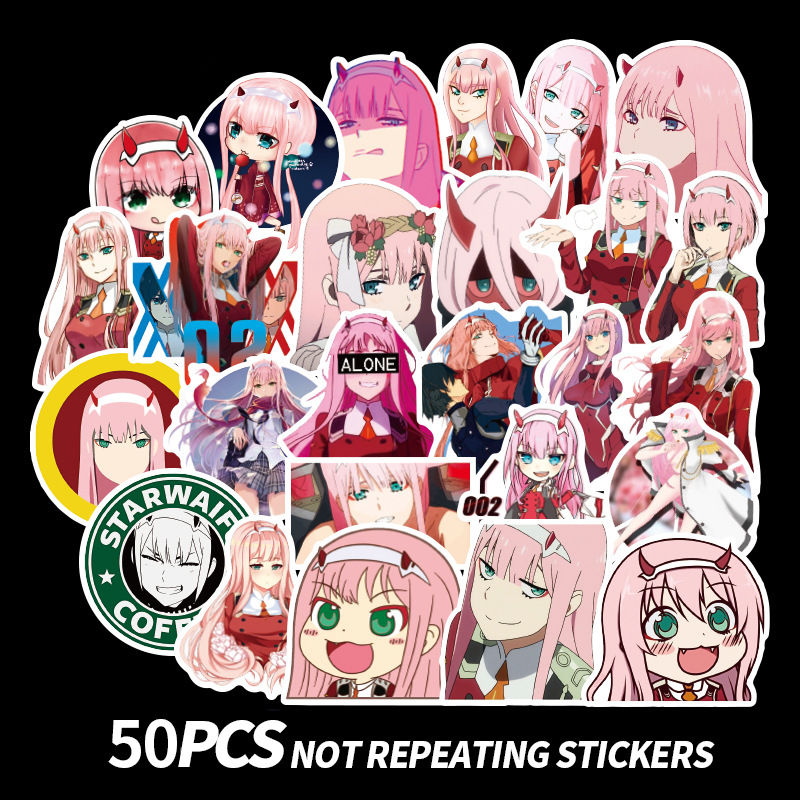 50Pcs DARLING In The FRANXX Anime Stickers ZERO TWO Scrapbooking Sticker For Laptop Skateboard Fridge Suitcase DIY Toy Stickers