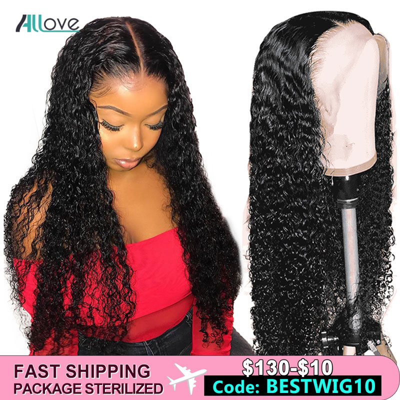 Allove Deep Wave Lace Front Human Hair Wigs Pre Plucked Remy Brazilian Human Hair Wigs For Black Women 250 Density Lace Wig