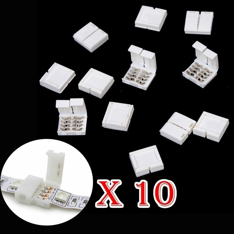 4Pin 10mm 5050 RGB LED Strip Connector Free Solder Connector For Connecting Corner Right Angle Power Led Strip Connector(10 Pcs)