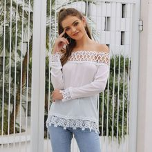 все цены на Autumn Sexy White Off Shoulder Hollow Out Lace Blouse Top Women Slash Neck Long Sleeves OL Lace Blouse Ladies Shirt Streetwear онлайн