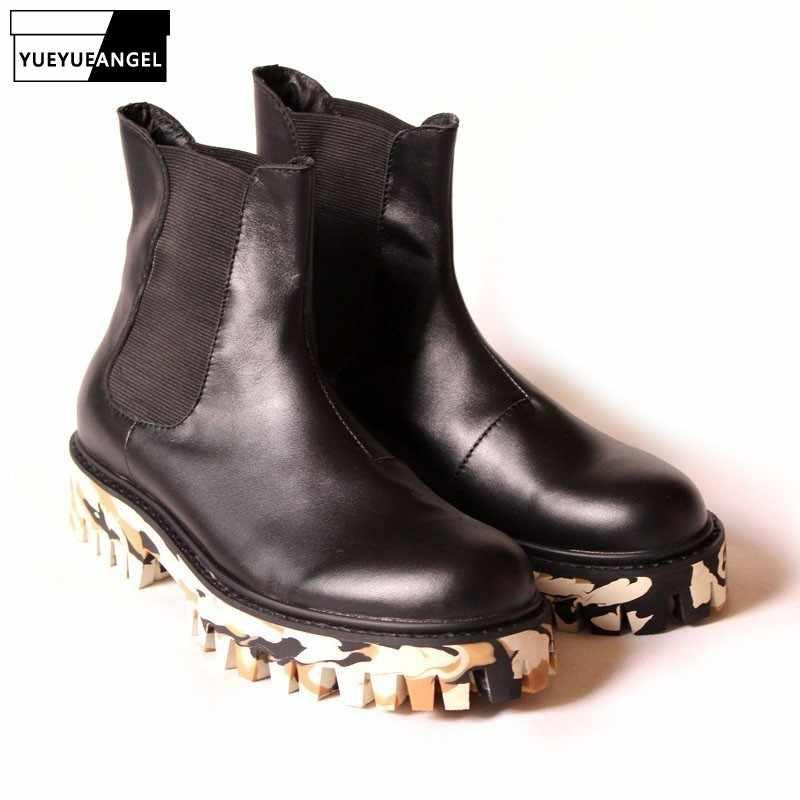 Neue Winter Schuhe Für Männer Schwarz Camouflage Maskuline Boot Dicken Plattform Gummi Stiefeletten Mens Echtes Leder Schuhe UNS 10