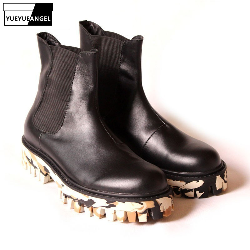 New Winter Footwear For Men Black Camouflage Masculine Boot Thick Platform Rubber Ankle Boots Mens Genuine Leather Shoes US 10