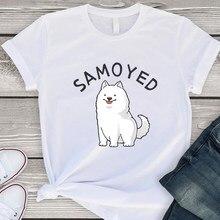 Design Koreanische ziemlich Neue T Shirt Frauen Persönlichkeit Moderne Multicolor Nimation Runde Casual T-shirt SAMOJEDEN Brief T Hemd