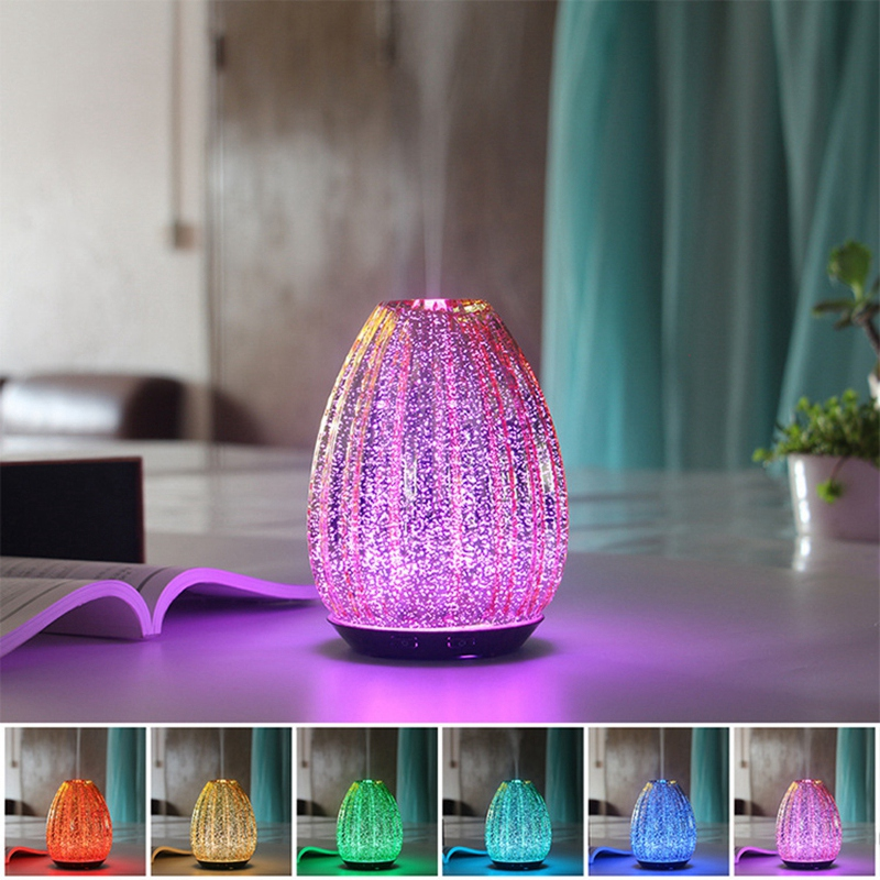 100Ml Aromatherapy Essential Oil Aromatherapy Diffuser 3D Glass Handmade Cool Mist Humidifier Waterless Auto Shut Off Spa Yoga E
