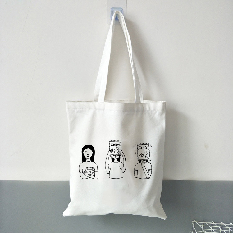 Women's Canvas Bag Cartoon Girls Printing Shopping Bags Female Large Capacity Shoulder Tote Bag Eco Reusable Ladies Handbags
