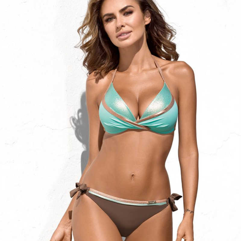 Baju Renang Wanita Bikini Wanita Push Up Baju Renang Ukuran Besar Pantai Bikini Set S-XXXL Bak Mandi Ukuran Perban Pakaian