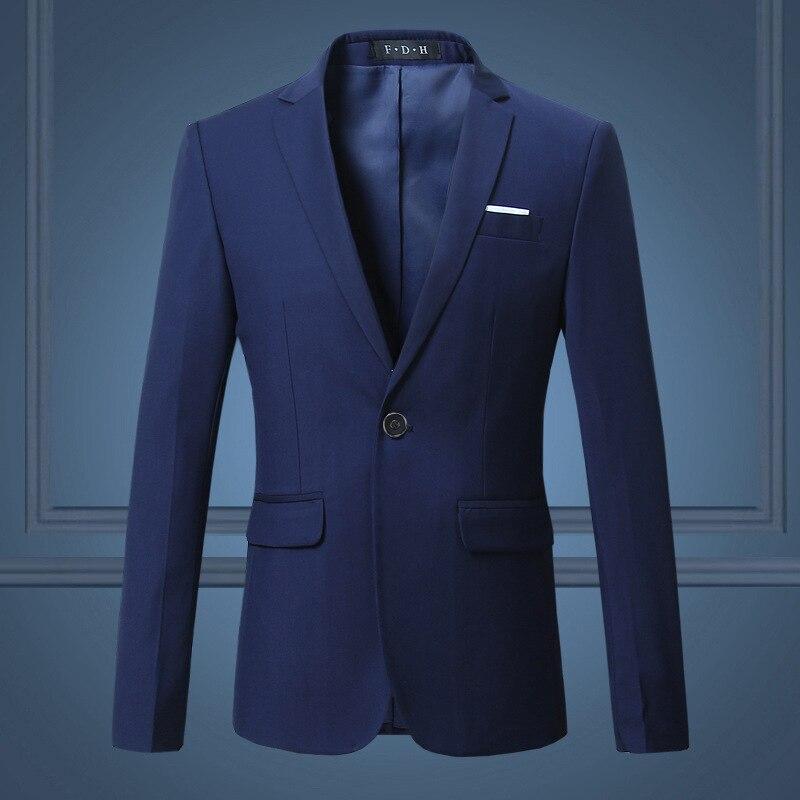 2018 New Style Solid Color Men Korean-style Trend Slim Fit Suit Blue Elegant Fashion Leisure Suit Coat