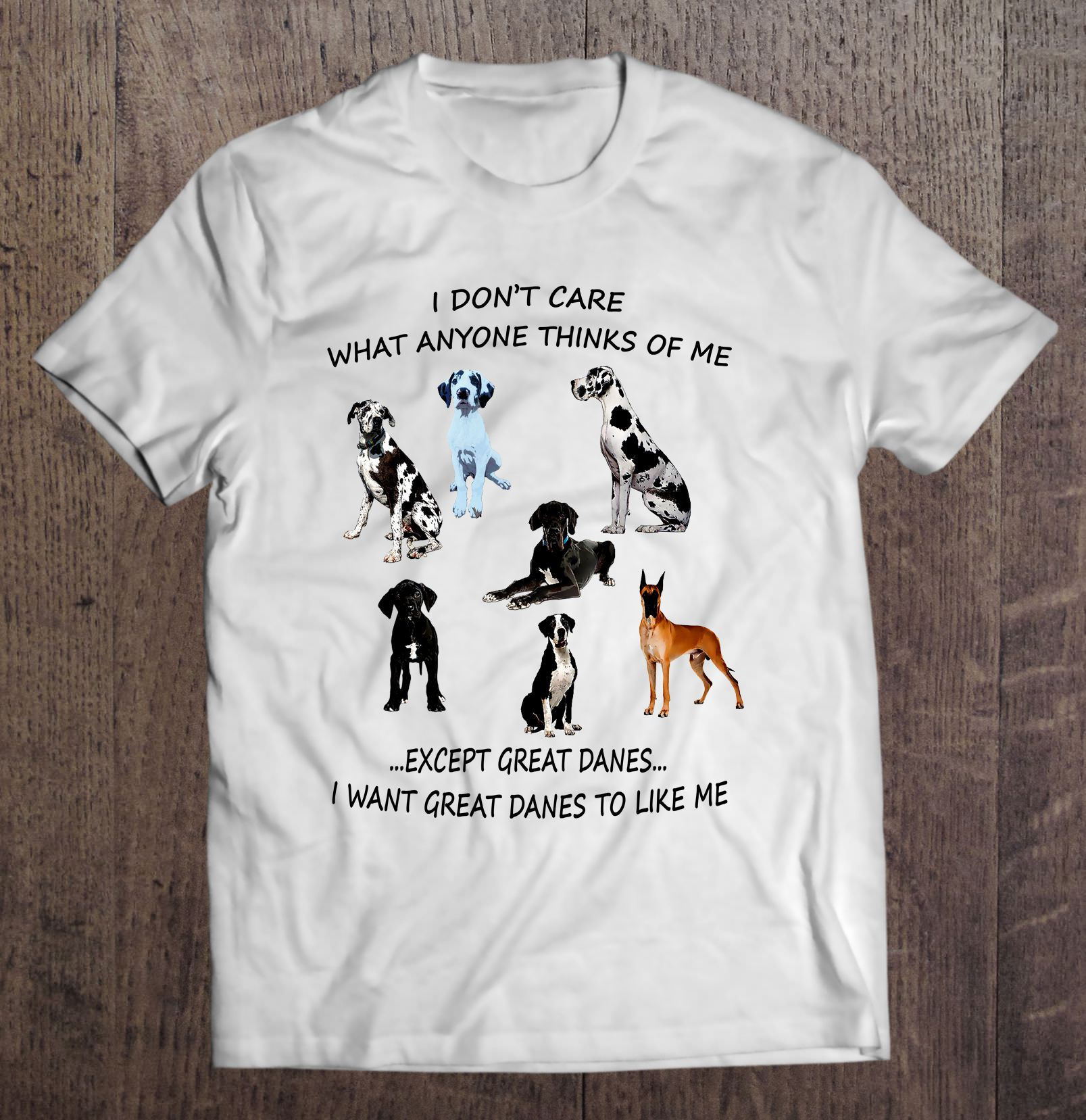 I Don'T Care What Anyone Thinks Of Me Except Great Dane I Want Dogs To Like Me T-Shirts image
