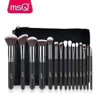 MSQ 4/15pcs Makeup Brushes Set Powder Foundation Eyeshadow Make Up Brush Kits Cosmetics Soft Synthetic Hair With PU Leather Case