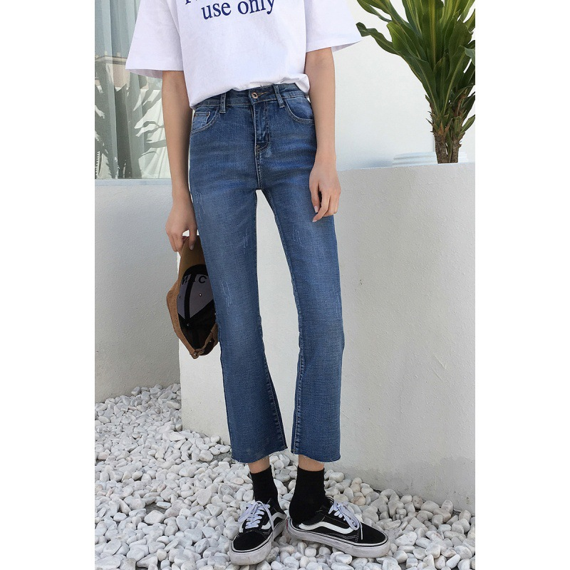 Micro Bell-bottom Pants Female Spring And Summer Over The Fire INS New Style Korean-style High Waist Jeans Wide-Leg CHIC Straigh