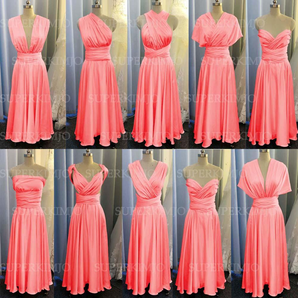 SuperKimJo Infinite Bridesmaid Dresses Long Coral Satin Cheap Convertible Wedding Party Dresses 2021 Vestidos De Dama De Honor