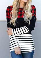 Frauen Plaid Spleißen Gestreiften Langarm T-shirt Weiblichen Frühling Herbst Harajuku Ulzzang Casual Tee 2019 Dame Trendy Koreanische Kleidung