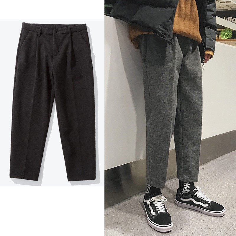 Winter Thick Straight-Cut Korean-style Trend Youth Loose-Fit MEN'S Casual Pants Versatile Woolen Small Suit Pants