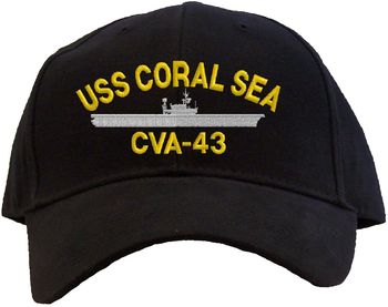 cva Printed USS Coral Sea CVA-43 Embroidered Baseball Cap - Available in 7 Colors Hat