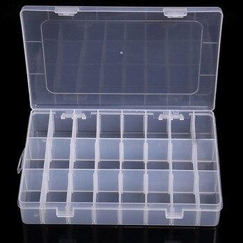 Caja Organizadora de almacenamiento de rejilla transparente 10/15/24 caja Organizadora de almacenamiento de caja de plástico cuentas de joyería pastillero Organizador de tornillo
