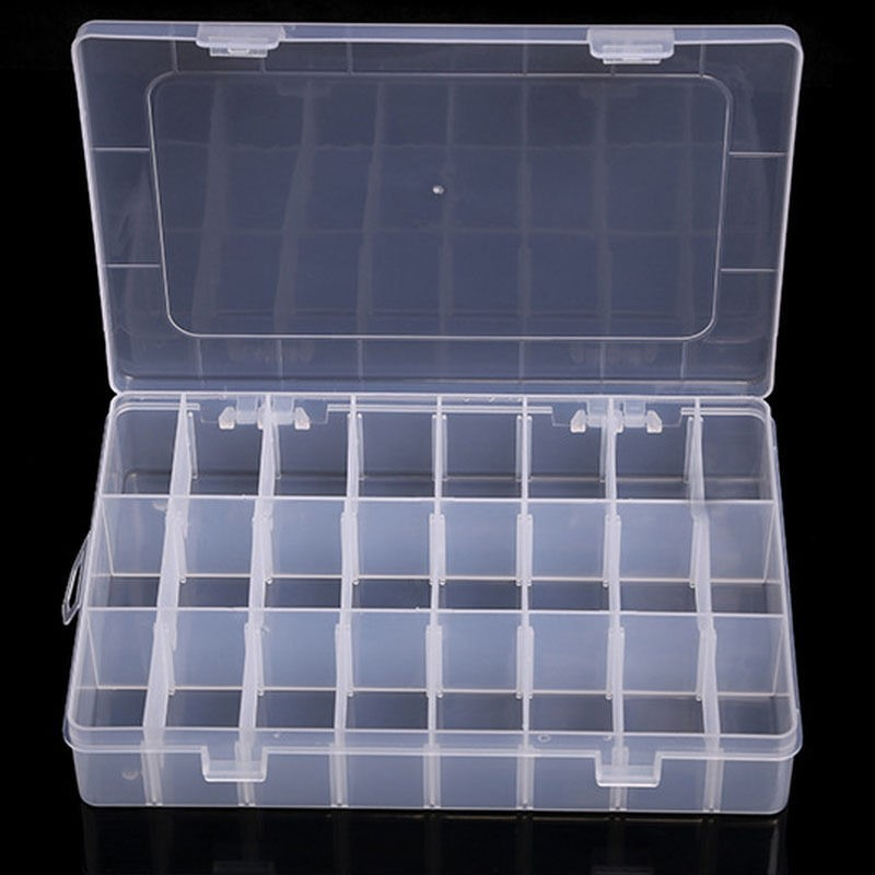 Transparent 10/15/24 Grid Storage Box Organizer Case Cajas Organizadora Storing Plastic Box Jewelry Beads Pill Screw Organizador