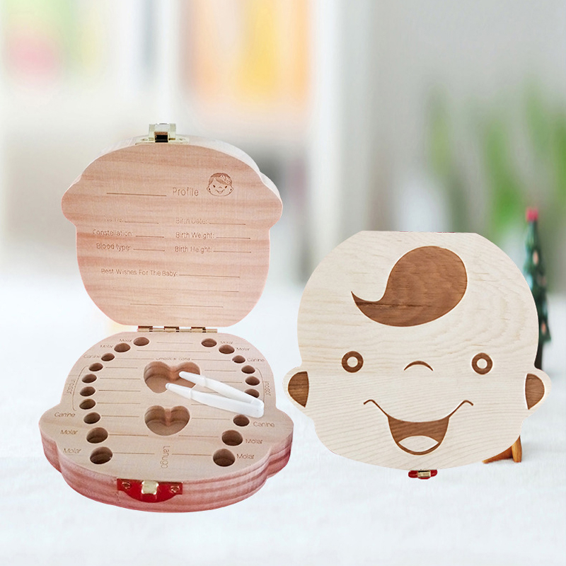Wooden Baby Kids Tooth Storage Box Baby Wood Tooth Box Organizer Milk Teeth Storage Collect Teeth Umbilica Save Gifts Spain