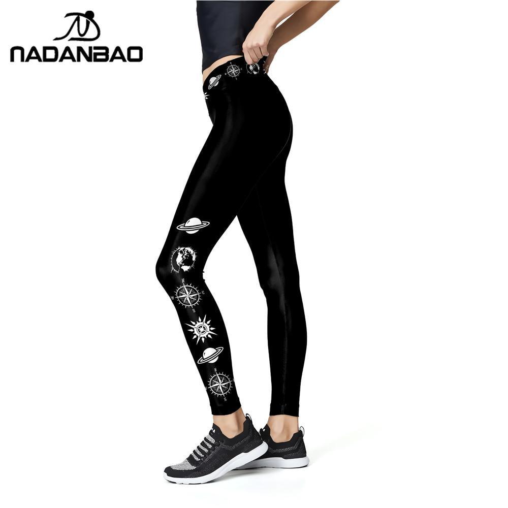 NADANBAO Solid Color Black Leggings Women Workout Pants 3D Printed Planet Leggins High Waist Fitness Legins Elastic Trousers