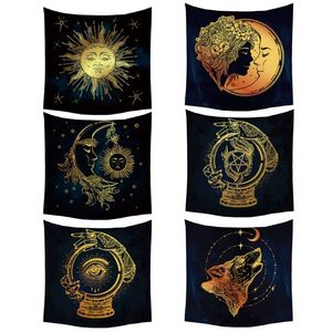 Sun and Moon Psychedelic Wall Tarot Tapestry Divination Altar Tarot Tablecloth