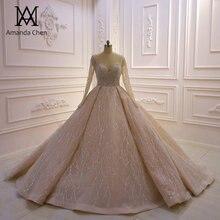 Vestito da sposa Custom Made uzun kollu parlak lüks düğün elbisesi