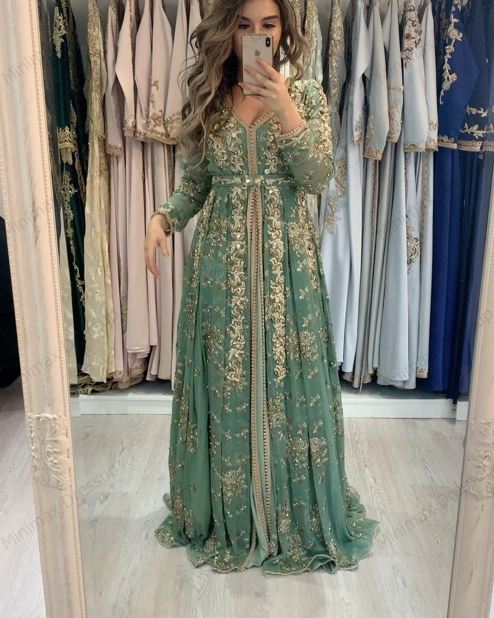 Green Moroccan Kaftan Formal Evening Dresses Lace Appliques Arabic Muslim Special Occasion Dresses Custom Made
