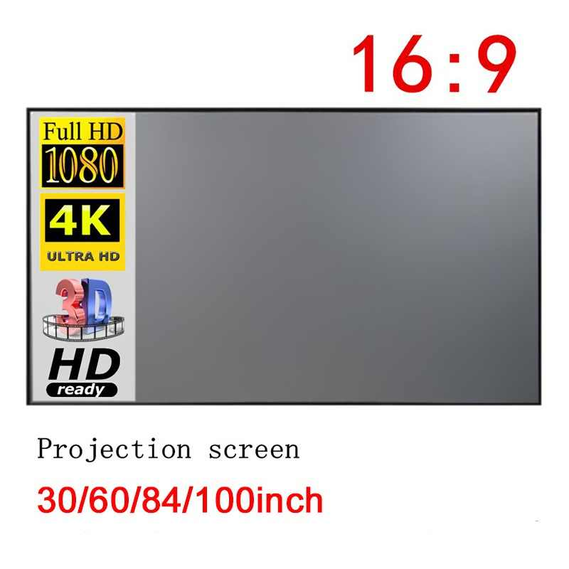 home projector simple curtain anti light screen 30 60 84 100 inches home outdoor office portable 3d hd projector screen beamer aliexpress aliexpress