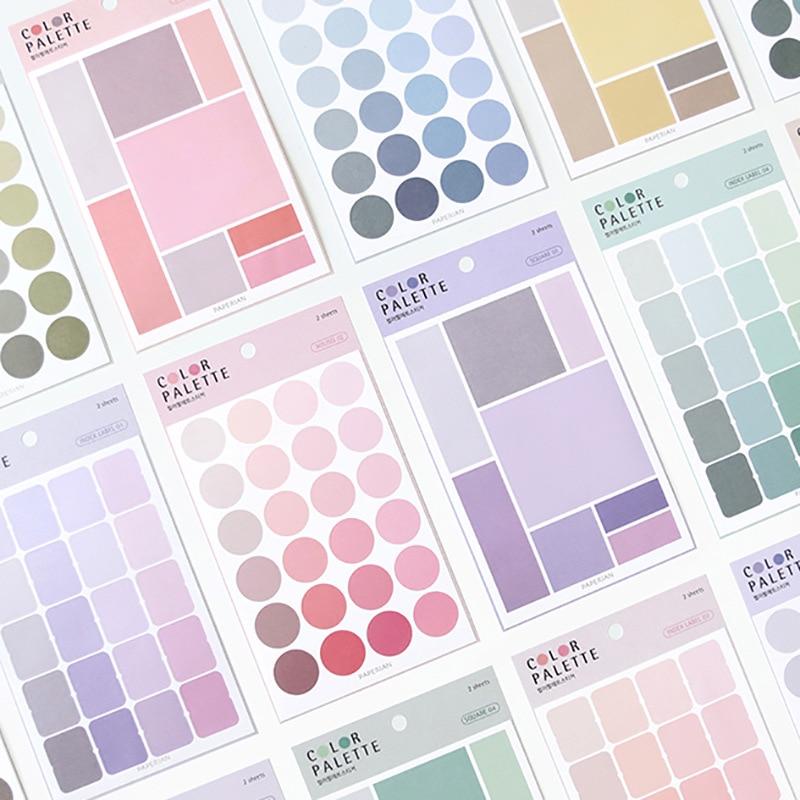 4 Gradient Color Palette Circle Square Index Sticker Calendar Remarks Planner Sticker Decorative Paper Sticker School Supplies