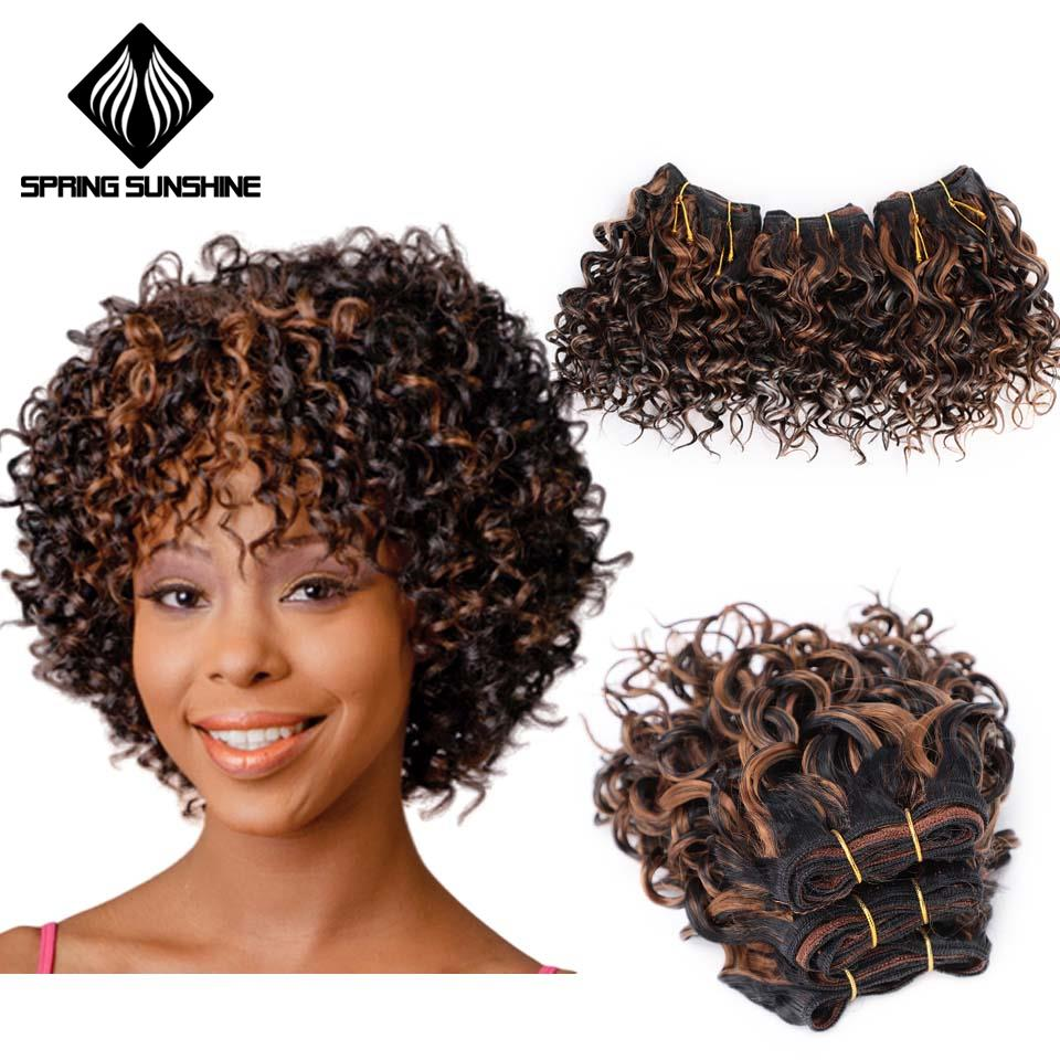 Spring Sunshine Ombre Hair Bundles Afro Kinky Curly Hair 6 Inch Short Synthetic Hair Weaving Afro Braiding Jerry Curl Extension