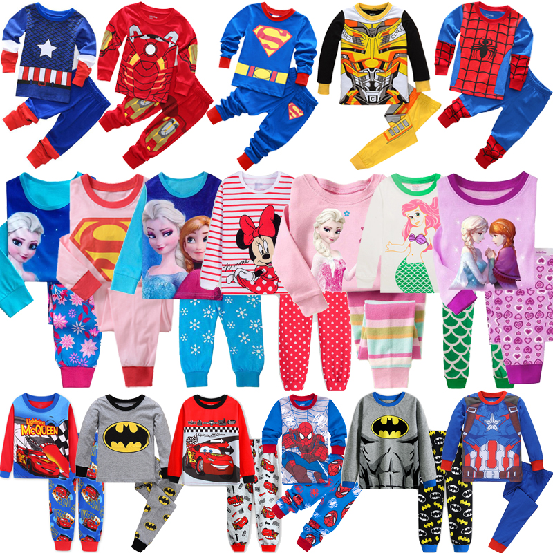 Hot Children SpiderMan Sets Cars Boys Elsa Anna Cartoon Print Nightwear Girls Family Pajamas Kids Clothes Sleepwear Baby Pyjamas