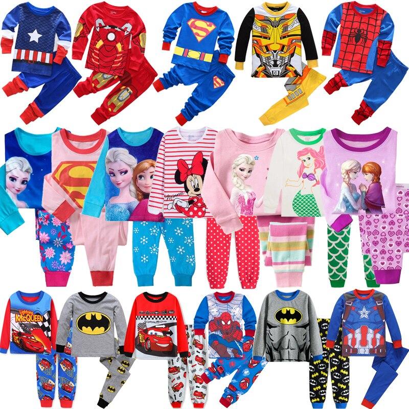 Hot Children SpiderMan Sets Cars Boys Elsa Anna Cartoon Print Nightwear Girls Family Pajamas Kids Clothes Sleepwear Baby Pyjamas
