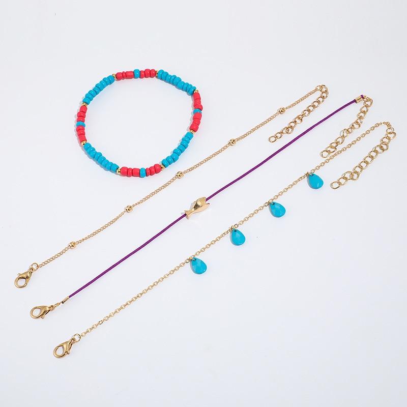 4Pcs Bohemian Ankle Bracelets Set Multilayer Fish Blue Waterdrop Charm Beaded Bracelets Women Anklet Foot Jewelry Gift