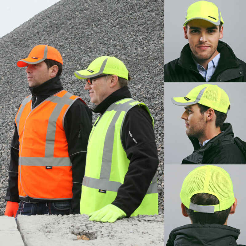 Hi Vis Cap Reflective Visibility Safety Work Wear Hat Visibility Safety Head Protection Baseball Protection Baseball Reflective