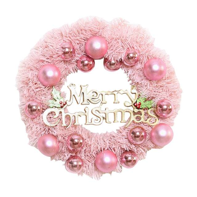 30/40cm Christmas Decoration Pink Christmas Wreath Rattan Ring Shopping Mall Window Scene Ornaments Artificial Christmas Wreath 15