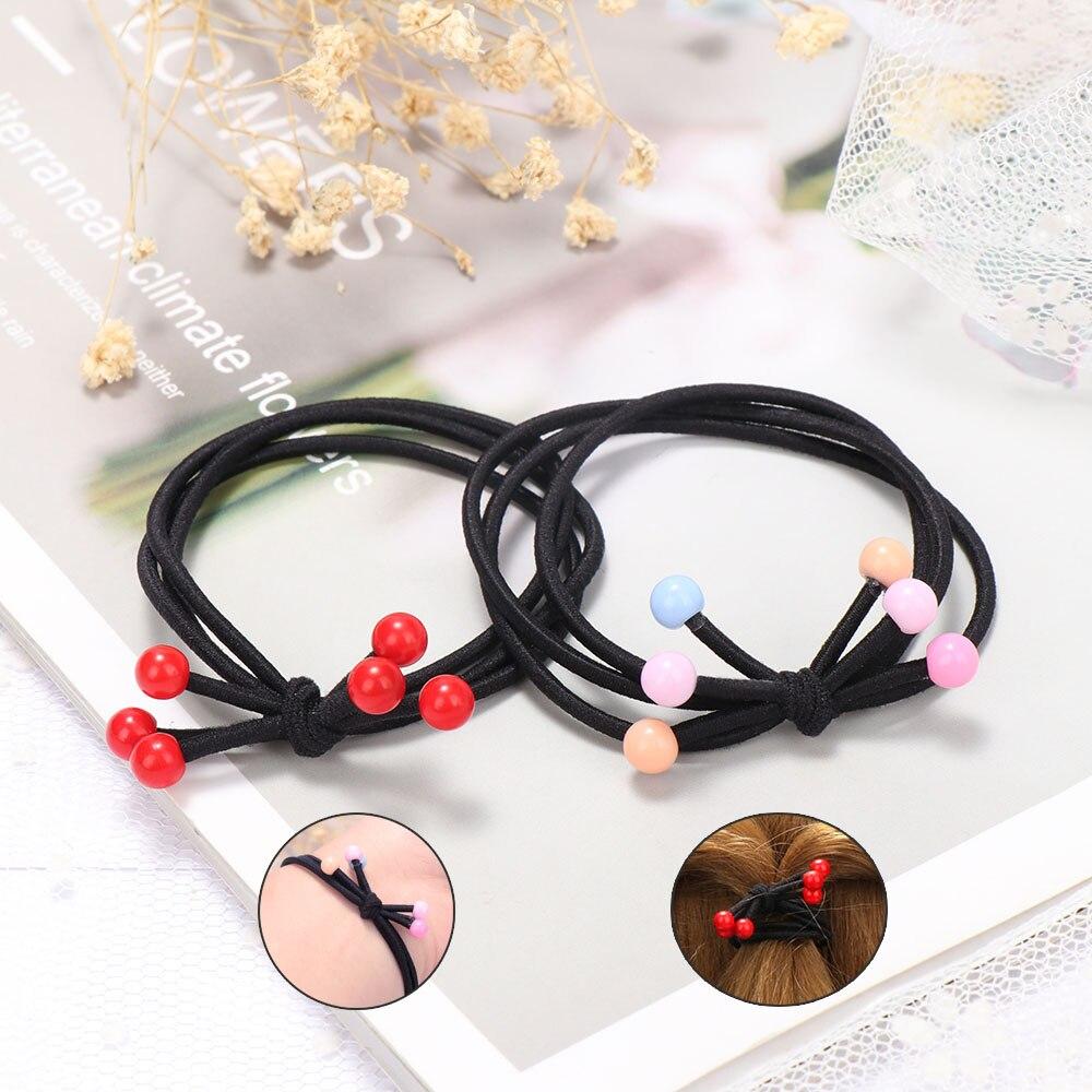 1Pcs Fashion Elastic Three-in-one Multi-layer Cherry Hair Rope Women Hair Ties Ponytail Holder Girl Kid Hair Accessories