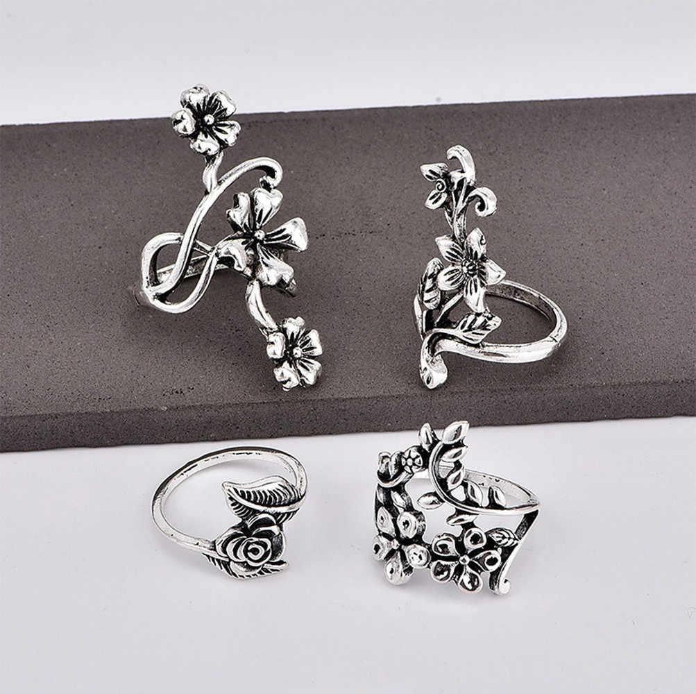4 pezzi anello set nuova vendita calda set naturale di stampa in acciaio inox modello di anello di cerimonia nuziale dei monili dell'annata del regalo кольцо мужское 50 *