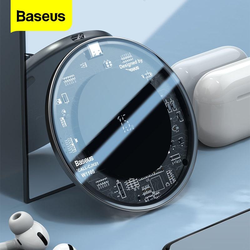 Baseus 15W Qi cargador inalámbrico para iPhone 12 Mini 11 Pro XS Max de inducción rápido almohadilla de carga inalámbrica para los Airpods Xiaomi Samsung