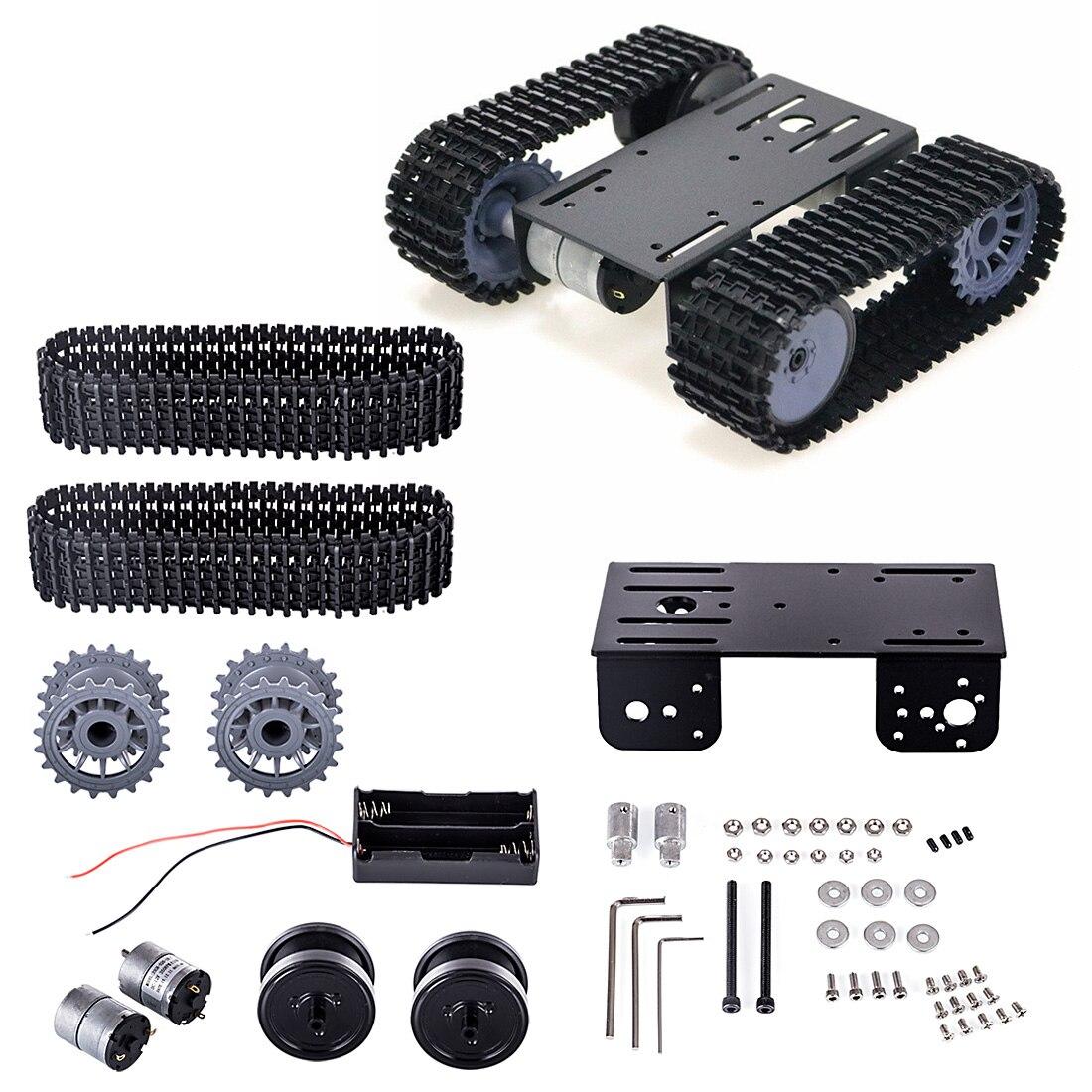 TP101 Tracked Robot Smart Car Platform DIY Metal Robot Tank Crawler Chassis Platform Kit For Arduino - Black/Blue/White