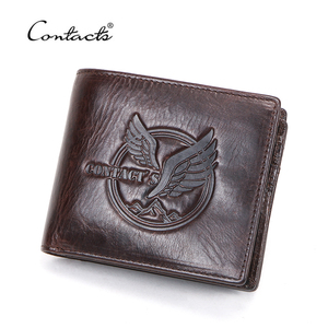 Image 2 - CONTACTS 100% Genuine Leather Men Wallet Coin Purse Small Card Holder Portomonee Male Wallets Vintage Money Bag Carteira Brand
